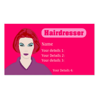 Hairdresser's Card Redhead Woman - Neon Pink Business Card
