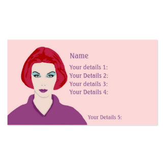 Hairdresser's Card Redhead Woman - Pink & Purple Business Card