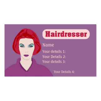 Hairdresser's Card Redhead Woman - Purple wth Text Business Card