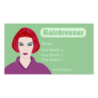 Hairdresser's Card wth Redhead - Mint Green Text Business Card