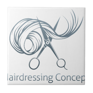 Hairdressers Scissors Concept Small Square Tile