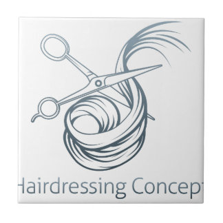 Hairdressers Scissors Cutting Hair Small Square Tile
