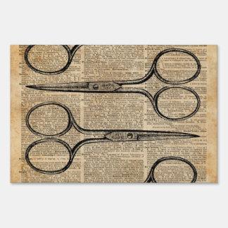 Hairdresser's Scissors Vintage Illustration Lawn Signs