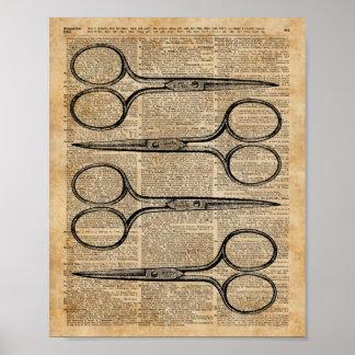 Hairdresser's Scissors Vintage Illustration Poster