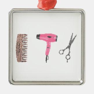 hairdryer de la peluquería adorno navideño cuadrado de metal
