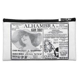 Hairpins 1920 vintage ad Enid Bennett silent film Makeup Bags