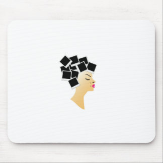 hairstyle with blank polaroids mouse pad