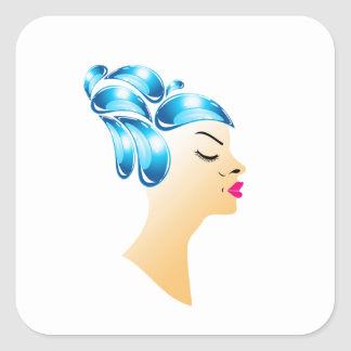 Hairstyle with droplets square sticker