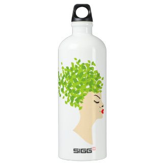 Hairstyle with green leaves aluminum water bottle