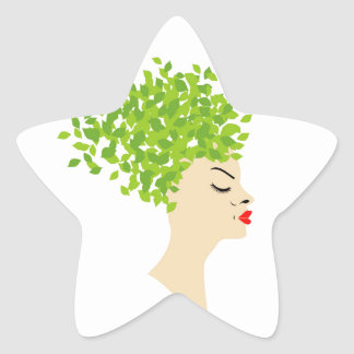 Hairstyle with green leaves star sticker