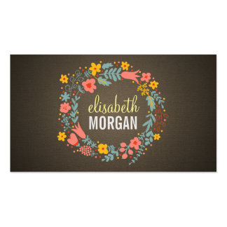Hairstylist - Burlap Floral Wreath Double-Sided Standard Business Cards (Pack Of 100)