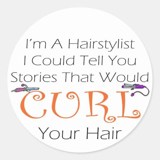 Hairstylist Curl Hair Classic Round Sticker