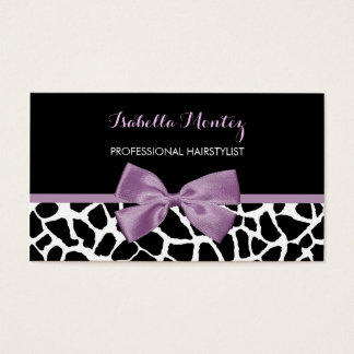 Hairstylist Cute Giraffe Print Lavender Purple Bow Business Card