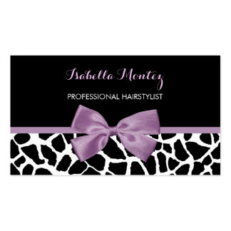 Hairstylist Cute Giraffe Print Lavender Purple Bow Double-Sided Standard Business Cards (Pack Of 100)