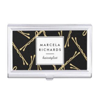 Hairstylist elegante de las horquillas del oro II Caja De Tarjetas De Presentación