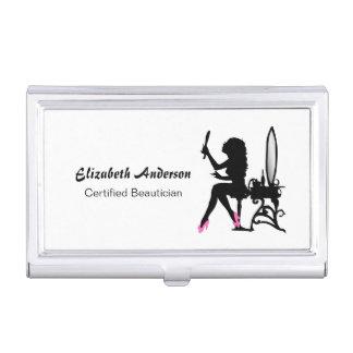 Hairstylist femenino rosado y negro del Beautician Caja De Tarjetas De Presentación