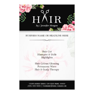 Hairstylist Hair Cut Typography Logo Classy Floral Flyer