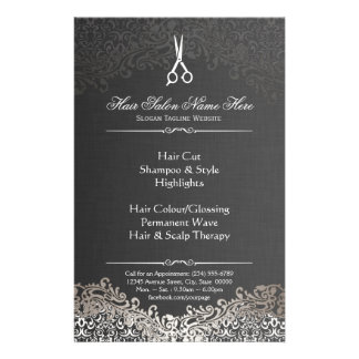 Hairstylist Hair Salon Elegant Dark Silver Damask Flyer
