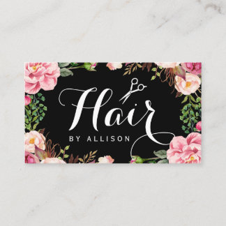 Hairstylist Hair Stylist Romantic Floral Wrapping Business Card