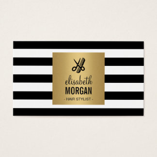 Hairstylist Retro Black White Stripes Gold Square Business Card