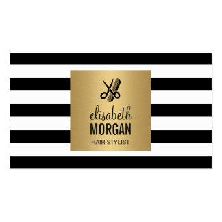 Hairstylist Retro Black White Stripes Gold Square Double-Sided Standard Business Cards (Pack Of 100)