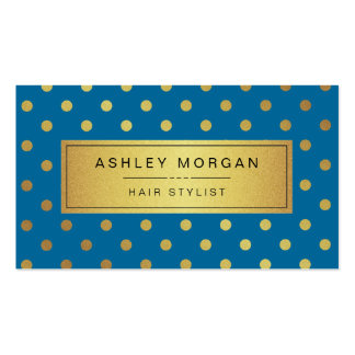 Hairstylist - Royal Blue Gold Dots Double-Sided Standard Business Cards (Pack Of 100)