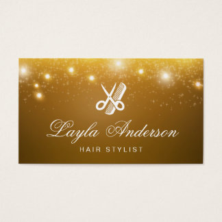 Hairstylist Scissors Comb - Gold Stars Sparkles Business Card