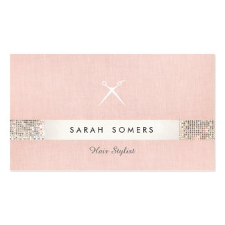 Hairstylist Scissors Logo FAUX Sequin Pink Salon 2 Double-Sided Standard Business Cards (Pack Of 100)