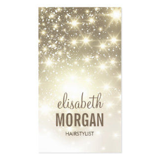 Hairstylist - Shiny Gold Sparkles Double-Sided Standard Business Cards (Pack Of 100)