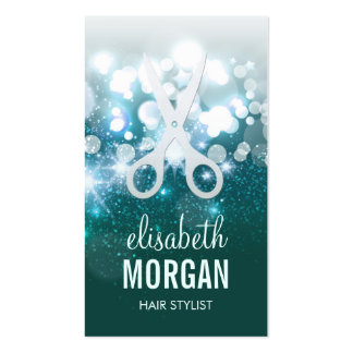 HairStylist Teal Turquoise Glamour Glitter Sparkle Business Card