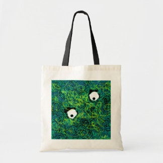 Hairy blue guy tote bags