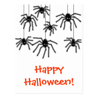 Hairy Cartoon Spiders Halloween Postcard
