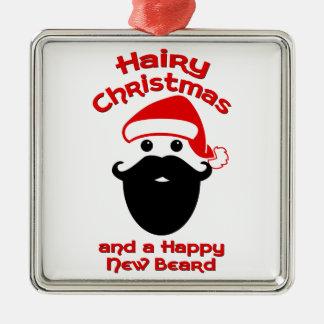 Hairy Christmas, Happy New Beard Metal Ornament