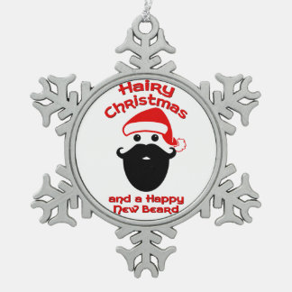 Hairy Christmas, Happy New Beard Snowflake Pewter Christmas Ornament