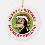 Hairy Elf Double-Sided Ceramic Round Christmas Ornament
