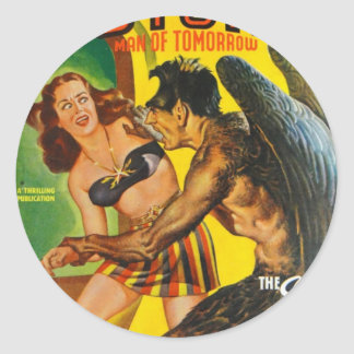 Hairy Guy with Wings Classic Round Sticker