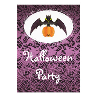 Hairy Halloween Bat and Pumpkin Personalized Invites