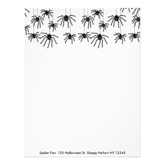 Hairy Halloween Cartoon Spiders Letterhead