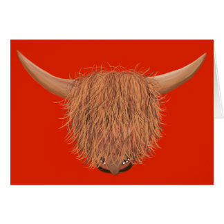 Hairy Highland Cow Greeting Card (Red)