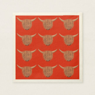 Hairy Highland Cow Napkins (Red)