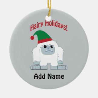 Hairy Holidays! Christmas Yeti Ceramic Ornament