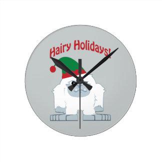 Hairy Holidays! Christmas Yeti Round Clock