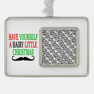 Hairy Little Christmas Silver Plated Framed Ornament