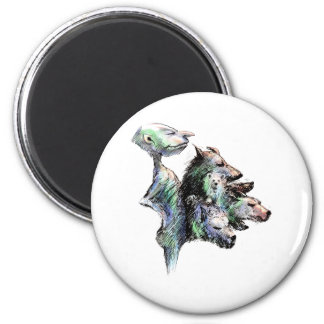 Hairy six pack 2 inch round magnet