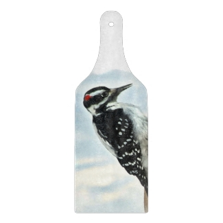 Hairy Woodpecker Cutting Board Paddle