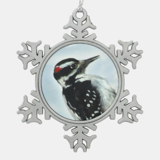 Hairy Woodpecker Pewter Snowflake Ornament at Zazzle