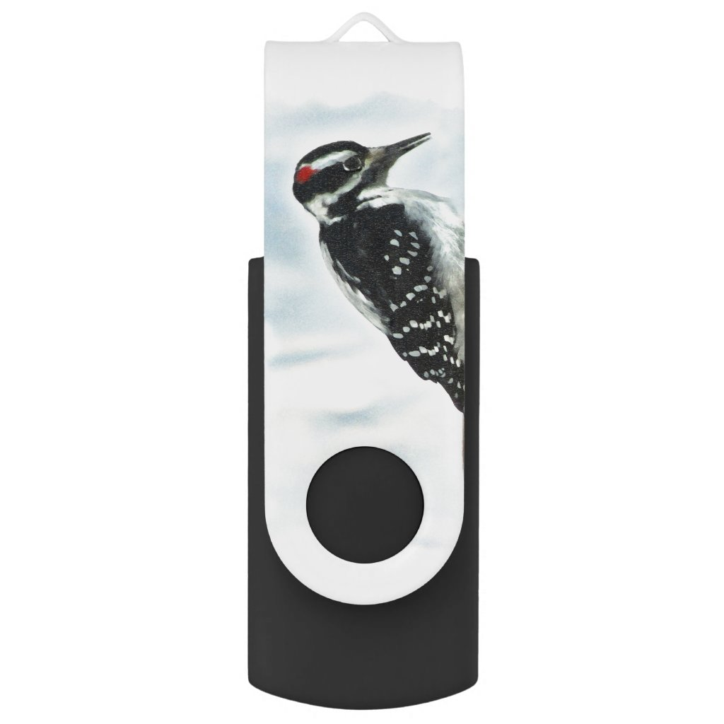 Hairy Woodpecker Swivel USB 2.0 Flash Drive