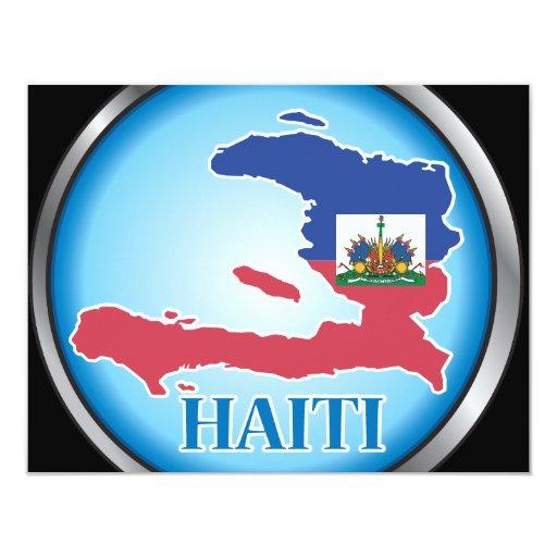 """Haití Button.ai redondo Invitación 4.25"""" X 5.5"""""""