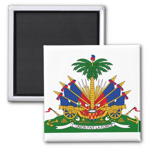 Haiti Coat of arms HT 2 Inch Square Magnet