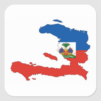 haiti country flag map shape symbol square sticker